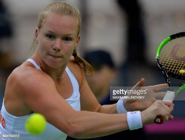 Dutch Kiki Bertens returns a ball to Belarus Aryna Sabalenka during the Fed Cup World Group first round tennis match between Belarus and Netherlands...