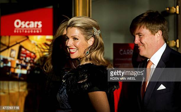 Dutch King Willem Alexander and Queen Maxima arrive at the Dutch 5th of May Liberation concert in Amsterdam on May 5 2015 OUT ==