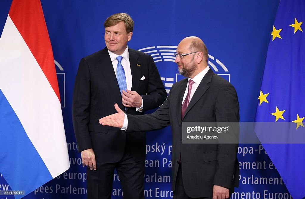 Dutch King Willem-Alexander (L) and President of the European Parliament Martin Schulz (R) are seen prior to their meeting in in Brussels, Belgium on May 25, 2016.