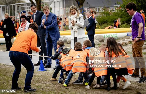 Dutch King WillemAlexander and Queen Maxima attend the King's Games in Veghel on April 21 2017 / AFP PHOTO / ANP / Robin van Lonkhuijsen /...