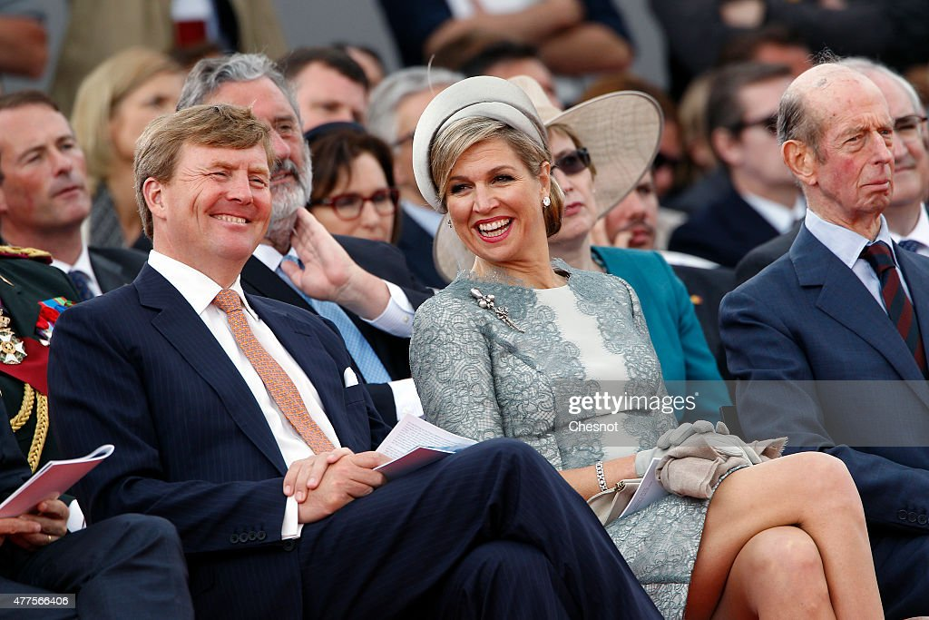 Dutch King Willem-Alexander and Queen Maxima of the Netherlands attend the Belgian federal government ceremony to commemorate the bicentenary of the Battle of Waterloo on June 18, 2015 in Waterloo, Belgium. The ceremony is at the start of three days of official events marking the 200th anniversary of the Battle of Waterloo during which around 5000 historical re-enactors from around the world will take part in events culminating in a re-enactment of the allied defeat of Napoleon's army on June 20th. The 1815 battle saw the overthrow of Napoleon Bonaparte and the restoration of Louis XVIII to the French throne.
