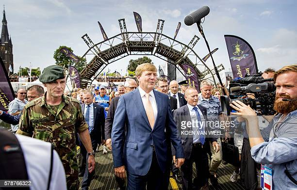 Dutch King WillemAlexander attends the fourth and final day of the 100th edition of the International Four Day Marches in Nijmegen on July 22 2016...
