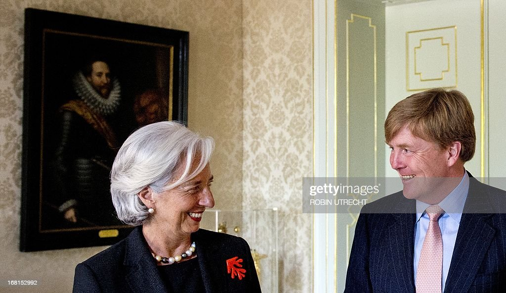 Dutch King Willem-Alexander chats with International Monetary Found (IMF) managing director Christine Lagarde during an audience at the Huis ten Bosch in The Hague, on May 6, 2013. Christine Lagarde, former French Finance minister, is in a two-day visit to the Netherlands.