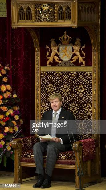 Dutch King WillemAlexander delivers his first speech from the throne at the Ridderzaal in the Hague The Netherlands on Prinsjesdag the traditional...