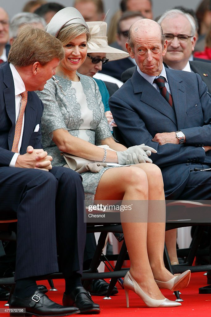 Dutch King Willem-Alexander, Queen Maxima of the Netherlands and Prince Edward, Duke of Kent attend the Belgian federal government ceremony to commemorate the bicentenary of the Battle of Waterloo on June 18, 2015 in Waterloo, Belgium. The ceremony is at the start of three days of official events marking the 200th anniversary of the Battle of Waterloo during which around 5000 historical re-enactors from around the world will take part in events culminating in a re-enactment of the allied defeat of Napoleon's army on June 20th. The 1815 battle saw the overthrow of Napoleon Bonaparte and the restoration of Louis XVIII to the French throne.