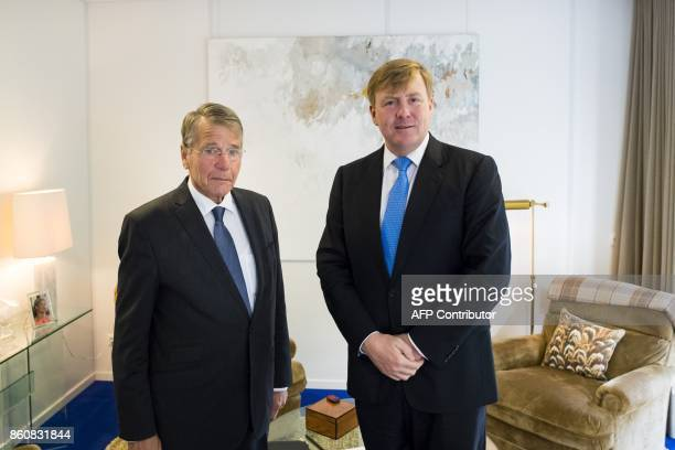 Dutch king WillemAlexander receives at the Eikenhorst Chairman of the State PietHein Donner on October 13 2017 in Wassenaar after the leaders of the...