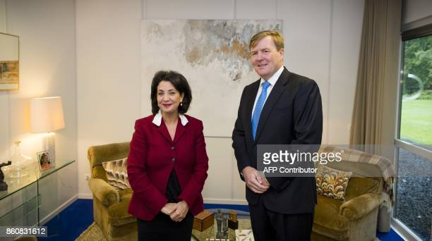Dutch king WillemAlexander receives at the Eikenhorst the Chairwoman of the House of Representatives Khadija Arib on October 13 2017 in Wassenaar...