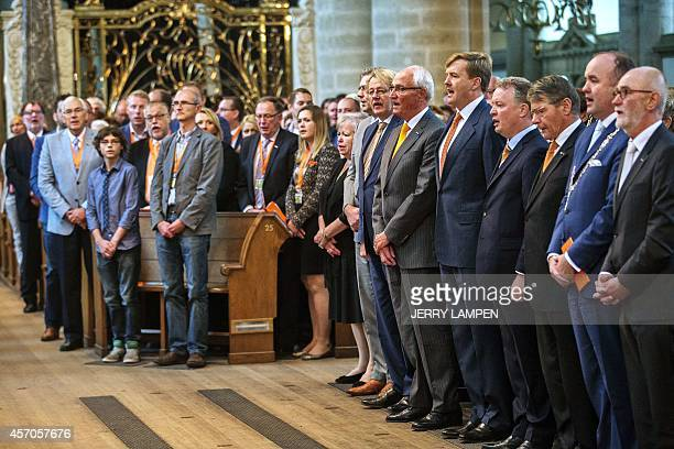 Dutch King WillemAlexander sings the national anthem during the annual Congress of the Royal Federation of Orange associations in the Great Church in...