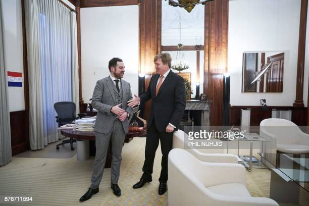 Dutch King WillemAlexander welcomes VVD party leader Klaas Dijkhoff at the Noordeinde Palace in The Hague on November 20 2017 After the installation...
