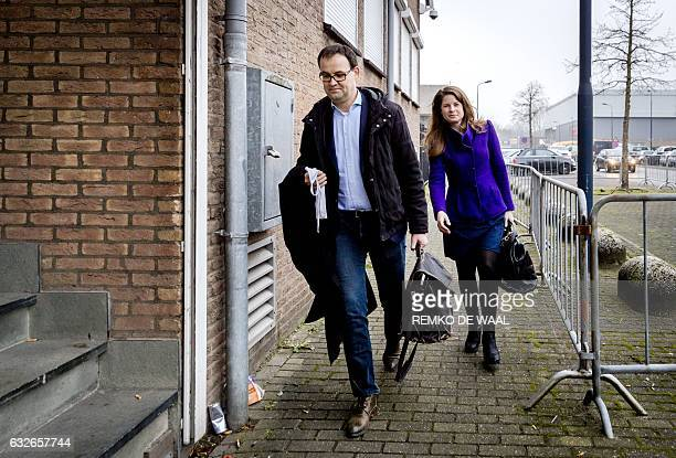 Dutch Lawyer Robert Malewicz representing Aydin C a man accused of cyberbullying arrives at 'de Bunker' courthouse in Amsterdam on January 25 2017 A...
