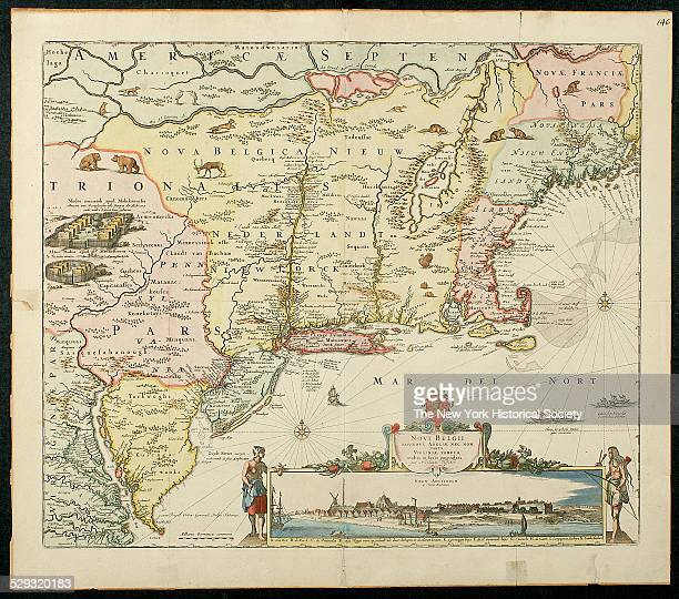 Dutch map of eastern North America from Chesapeake Bay north to area now southern Canada New York 1651 Illustrated with native animals and Native...