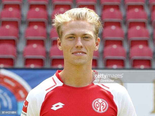 Dutch midfielder Viktor Fischer of first division Bundesliga football team FSV Mainz 05 poses for a photo in Mainz Germany on July 14 2017 / AFP...