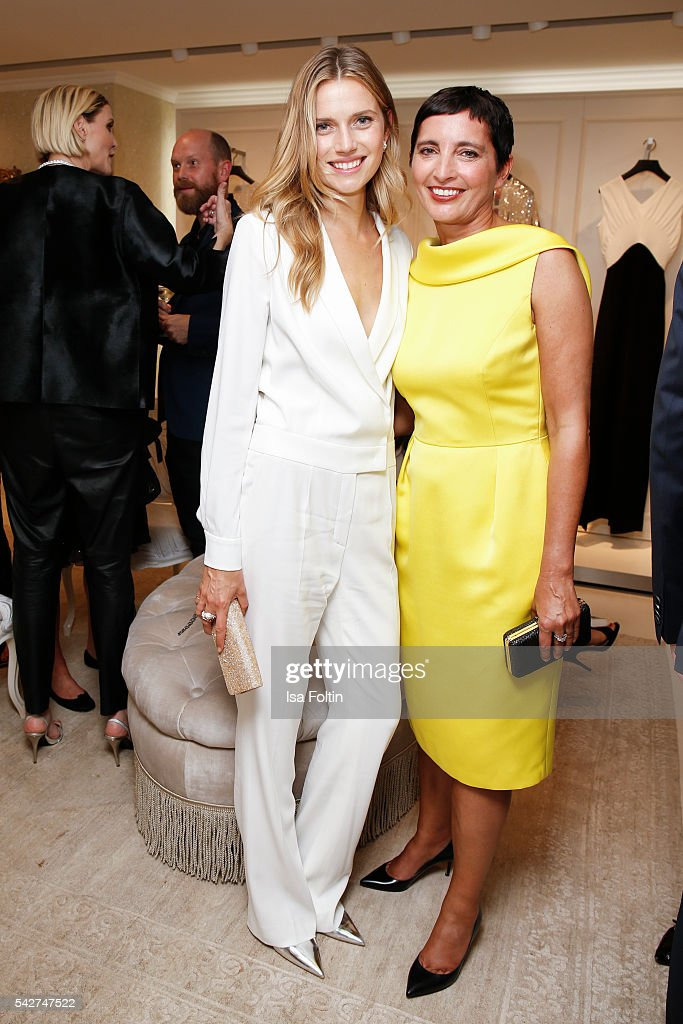 Dutch Model Cato van Ee and Iris Epple Righi CEO Escada attend the ESCADA Flagship Store Opening on June 23 2016 in Duesseldorf Germany
