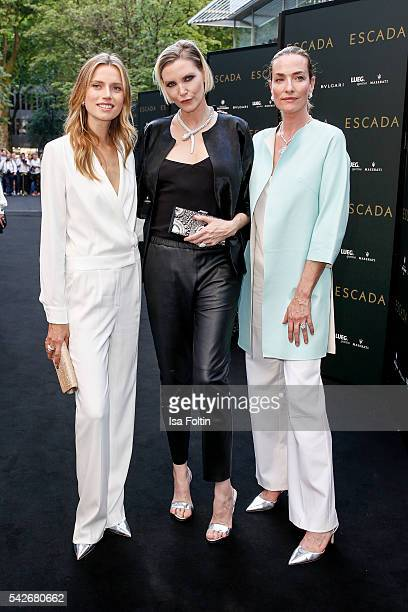 Dutch Model Cato van Ee german model Nadja Auermann and German Model Tatjana Patitz attend the ESCADA Flagship Store Opening on June 23 2016 in...