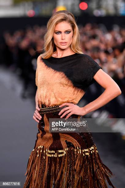 Dutch model Doutzen Kroes takes part in the L'Oreal fashion show on the sidelines of the Paris Fashion Week on October 1 on a catwalk set up on the...