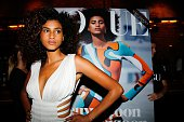 Dutch model Imaan Hammam poses during the launch of Vogue's September Issue in Amsterdam on August 6 2015 AFP PHOTO / ANP / BAS CZERWINSKI...