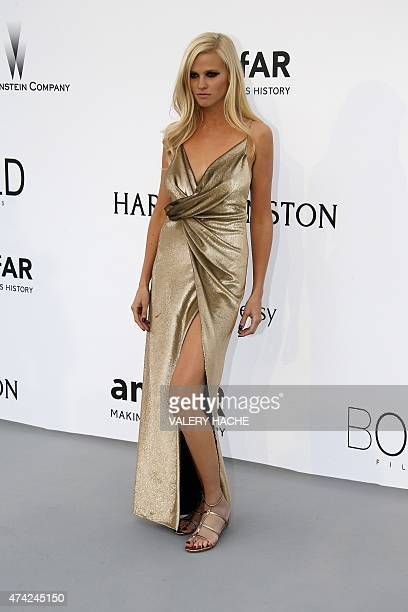 Dutch model Lara Stone poses as she arrives for the amfAR 22st Annual Cinema Against AIDS during the 68th Cannes Film Festival at Hotel du CapEdenRoc...