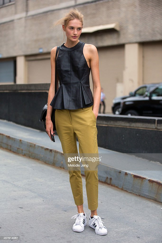 Dutch model Sanne Vloet exits the 3.1 Phillip Lim show in Phillip Lim on Day 5 of New York Fashion Week Spring/Summer 2015 on September 8, 2014 in New York City