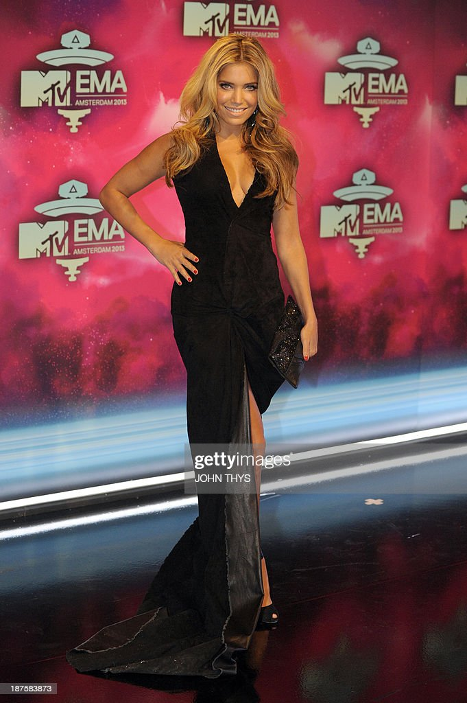 Dutch model Sylvie Van der Vaart poses as she arrives to attend the MTV European Music Awards (EMA) 2013 at the Ziggo Dome on November 10, 2013 in Amsterdam, The Netherlands.