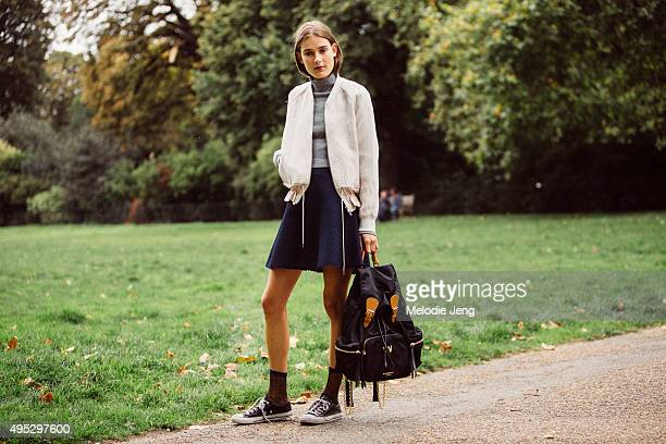 Dutch model Vera Van Erp exits the Burberry show at Kensington Gardens during London Fashion Week Spring/Summer 2016/17 on September 21 2015 in...