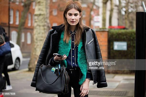 Dutch model Vera Van Erp exits the Preen by Thornton Bregazzi show at Tate Britain during London Fashion Week Autumn/Winter 2016/17 on February 21...