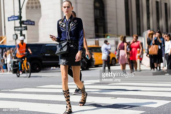 Dutch model Vera Van Erp exits the Public School show at Skylight Moynihan Station on September 13 2015 in New York City Vera wears a blue silk...