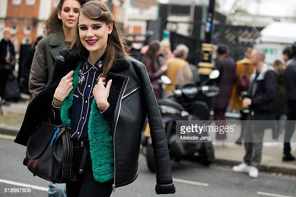 Dutch model Vera Van Erp exits the Topshop Unique show at Tate Britain during London Fashion Week Autumn/Winter 2016/17 on February 21 2016 in London...