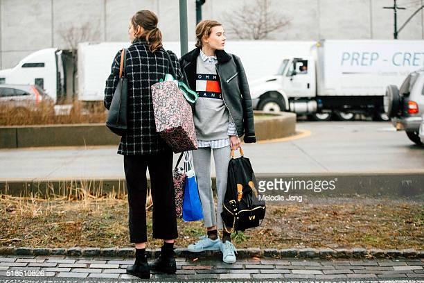 Dutch model Vera Van Erp wears a black leather jacket a gray Tommy Hilfiger logo sweatshirt gray cropped trousers a custom black Burberry backpack...