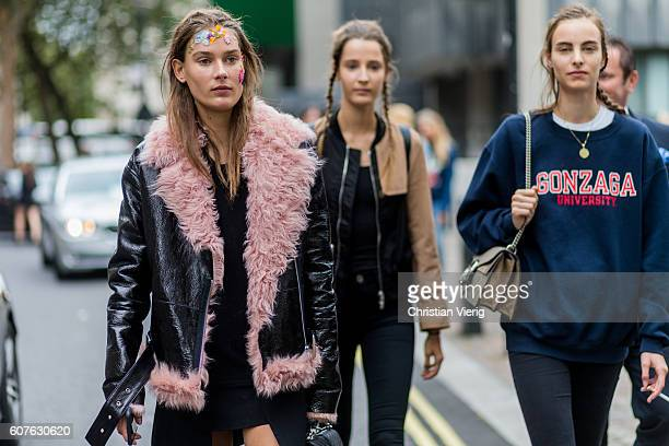 Dutch model Vera Van Erp with makeup and fur leather jacket and braids outside Preen during London Fashion Week Spring/Summer collections 2017 on...