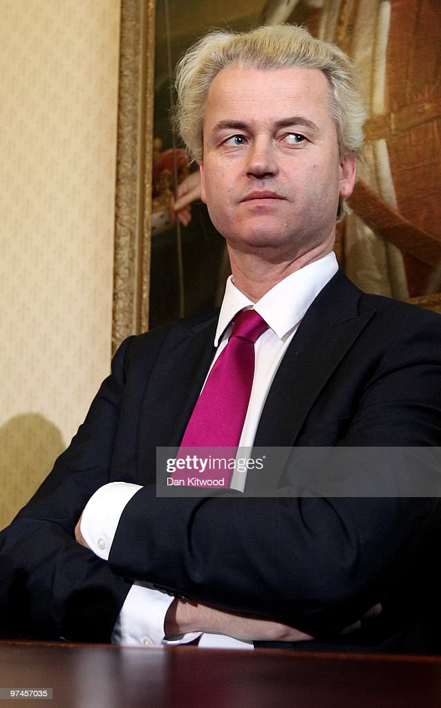 Dutch MP, <a gi-track='captionPersonalityLinkClicked' href=/galleries/search?phrase=Geert+Wilders&family=editorial&specificpeople=5053412 ng-click='$event.stopPropagation()'>Geert Wilders</a> speaks during a press conference at 1 Abbey Gardens on February 05, 2010 in London, England. Mr Wilders was banned from entering the UK last year by Home Secretary Jaqui Smith, but has since won his appeal against that judgement, and showed his controversial film 'Fitna' in the House of Lords today.