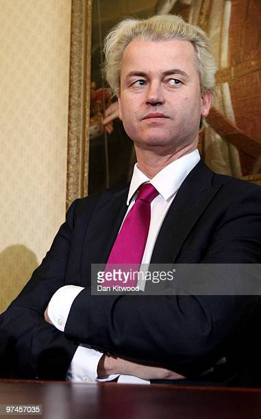 Dutch MP Geert Wilders speaks during a press conference at 1 Abbey Gardens on February 05 2010 in London England Mr Wilders was banned from entering...