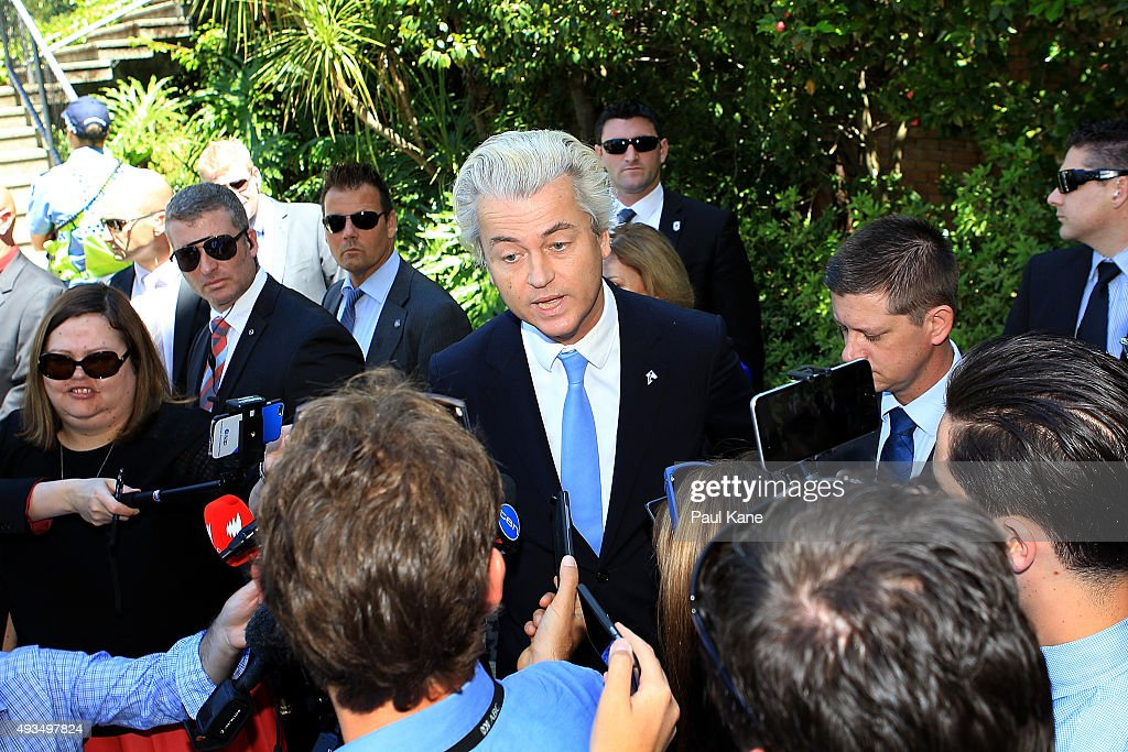 Dutch MP <a gi-track='captionPersonalityLinkClicked' href=/galleries/search?phrase=Geert+Wilders&family=editorial&specificpeople=5053412 ng-click='$event.stopPropagation()'>Geert Wilders</a> talks to the media during a press conference outside the Western Australian Parliament House on October 21, 2015 in Perth, Australia. Mr Wilders launched the anti-Islam Australian Liberty Alliance political party on Tuesday night. The venue of the launch was kept secret to avoid protesters.