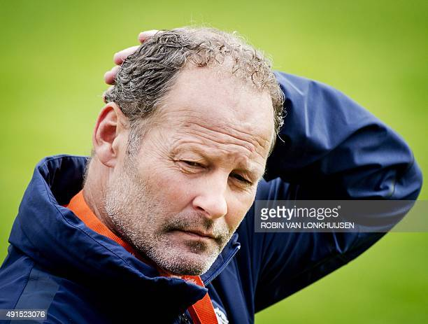 Dutch national football team head coach Danny Blind attends a training session in Katwijk the Netherlands on October 6 ahead of the team's UEFA Euro...