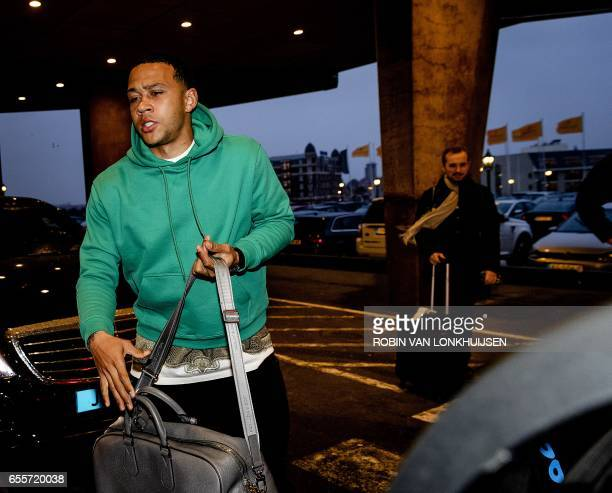 Dutch national football team player Memphis Depay arrives at Hotel Huis ter Duin in Noordwijk on March 210 2017 The Netherlands will face Bulgaria on...