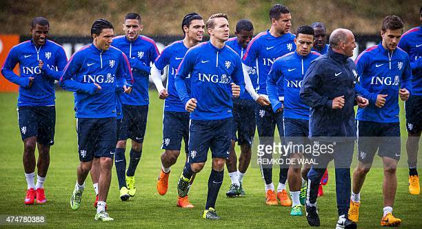 Dutch national soccer team players attend a training session in Hoenderloo on May 26 2015 The team is preparing for the friendly match against the...