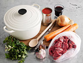 Dutch oven with vegetables and meat