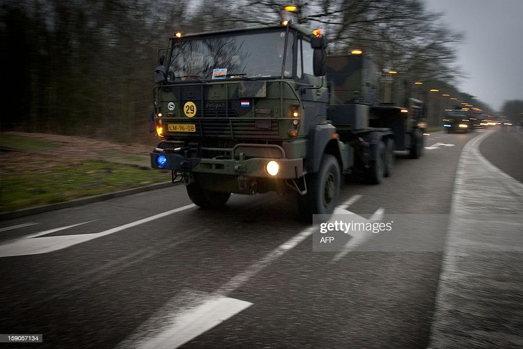 Dutch Patriot defence missiles leave their base in Vredepeel, The Netherlands, on January 7, 2013, on a transport to Eems harbour in Groningen. The missiles will be shipped to Turkey to be stationed to protect the country from possible attacks from neighbouring Syria. netherlands out
