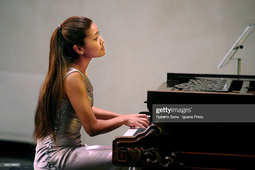 Dutch pianist Gile Bae performs for Arte Fiera Art City White Night at Palazzo Pepoli vecchio on January 26, 2013 in Bologna, Italy.