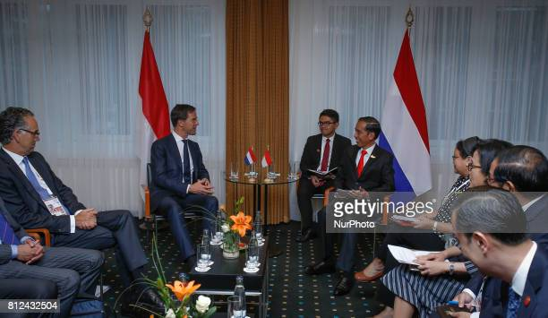 Dutch PM Mark Rutte is seen arriving at a meeting with Indonesian president Joko Widodo at the Steinberger hotel on 8 July 2017 during the G20 summit...