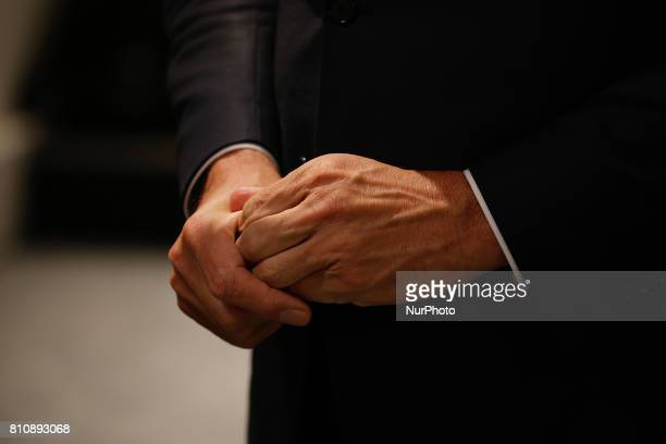 Dutch PM Mark Rutte is seen at a press conference on the final day of the G20 summit in Hamburg Germany on 8 July 2017 The prime minister in a...