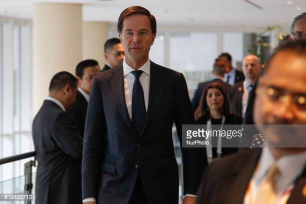 Dutch PM Rutte is seen arriving at the Steinberger hotel in Hamburg to meet Indonesian president Widodo during the G20 summit on 8 July 2017 The...