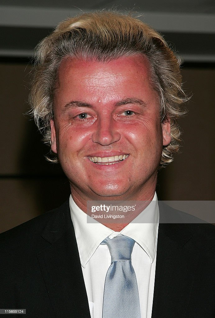 Dutch politician and Party for Freedom chairman <a gi-track='captionPersonalityLinkClicked' href=/galleries/search?phrase=Geert+Wilders&family=editorial&specificpeople=5053412 ng-click='$event.stopPropagation()'>Geert Wilders</a> attends the American Freedom Alliance's Heroes of Conscience Dinner at the Ronald Reagan Presidential Library on June 7, 2009 in Simi Valley, California.