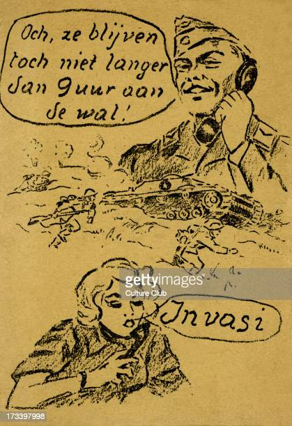 Liberation of Amsterdam A soldier talking to a woman via telephone Caption 'Oh they will not stay longer than 9 hours ashore' [Och ze blijven toch...