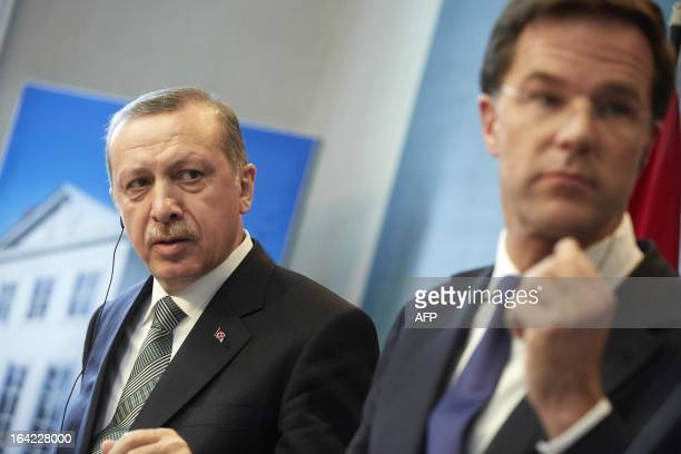 Dutch Prime Minister Mark Rutte and his Turkish counterpart Recep Tayyip Erdogan give a press conference at the official residence Catshuis in The...