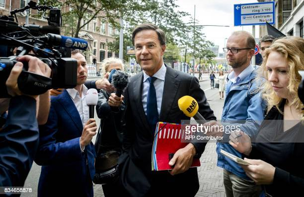 Dutch Prime Minister Mark Rutte answers journalists' questions following the attacks in Barcelona and Cambrils upon his arrival for talks on the...