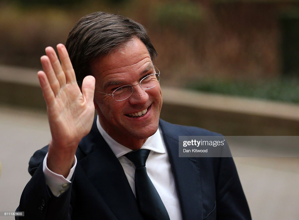 Dutch Prime Minister Mark Rutte arrives at the Council of the European Union on February 18 2016 in Brussels Belgium Most of Europe's 28 member state...