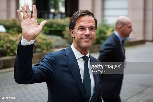 Dutch Prime Minister Mark Rutte arrives at the Council of the European Union on the first day of a two day summit on October 20 2016 in Brussels...
