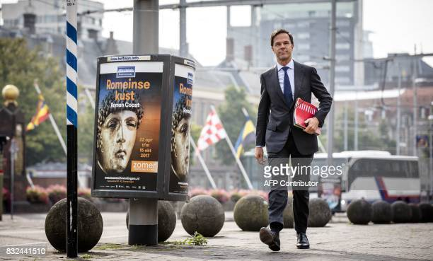 Dutch Prime Minister Mark Rutte arrives for talks at the Johan de Witthuis in The Hague on August 16 2017 The leaders of various Dutch political...