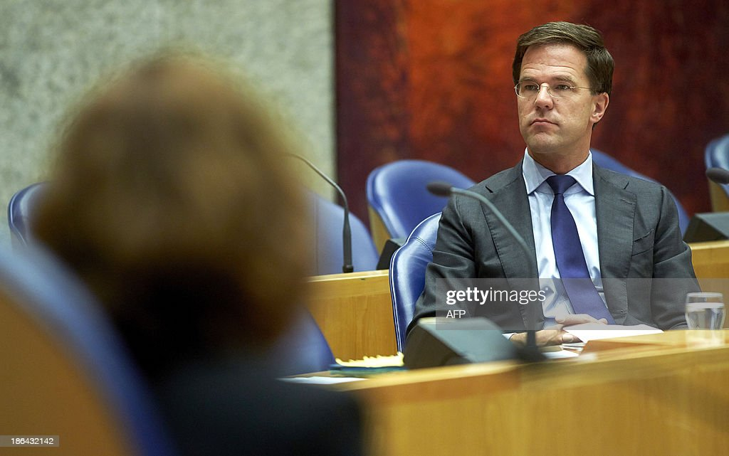Dutch Prime Minister Mark Rutte attends a debate in the Senate in The Hague, The Netherlands, on October 31, 2013, following the European Union Summit of Heads of States held at the EU Council building in Brussels last October 24 and 25, following shock revelations about the scale and scope of US surveillance of its allies.