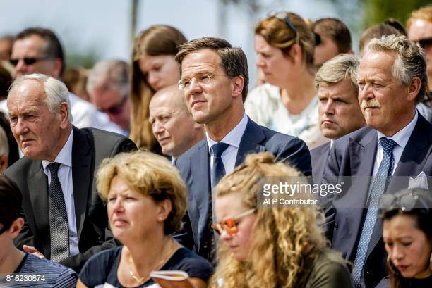 Dutch Prime Minister Mark Rutte attends the unveiling ceremony of the National Monument for the MH17 victims in Vijfhuizen on July 17 2017 Three...